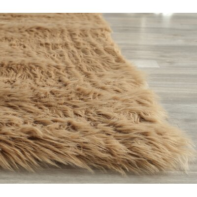Isacc Hand-Tufted�Faux Fur Brown/Tan Area Rug Rug Size: Rectangle 8 x 10