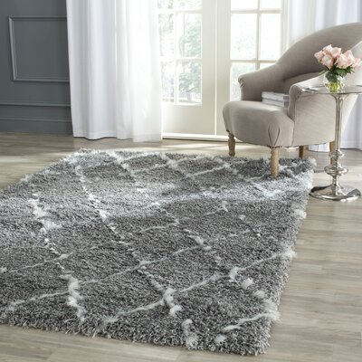 Armstead Geometric Contemporary Gray/Ivory Area Rug Rug Size: Rectangle 51 x 76