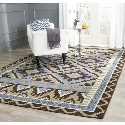 Rangely Green/Chocolate Indoor/Outdoor Area Rug Rug Size: Rectangle 53 x 77