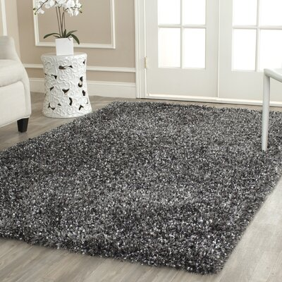 Anna Hand-Tufted/Hand-Hooked Charcoal Area Rug Rug Size: Rectangle 26 x 4