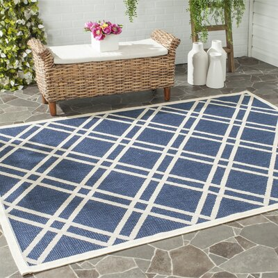 Short Ivory/Blue Indoor/Outdoor Area Rug Rug Size: Rectangle 2 x 37