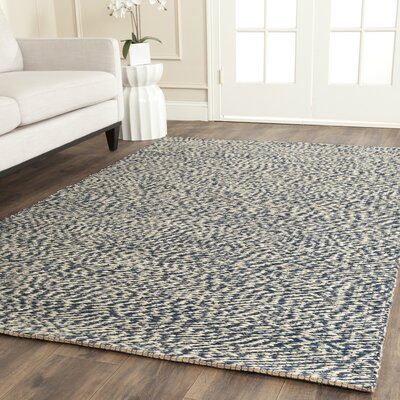 Abrielle Natural Fiber Hand-Woven Blue/Ivory Indoor Area Rug Rug Size: Rectangle 9 x 12