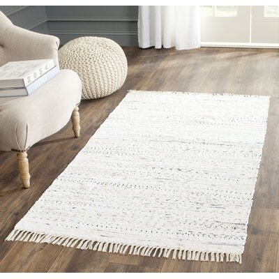 Penrock Way Handwoven Cotton White Area Rug Rug Size: Rectangle 4 x 6