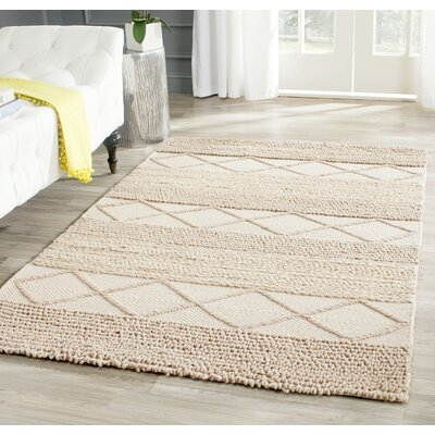 Williston Highlands Beige Tufted Wool Area Rug Rug Size: Rectangle 4 x 6