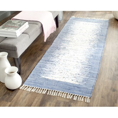 Static Hand-woven Blue/Ivory Area Rug Rug Size: Runner 23 x 6