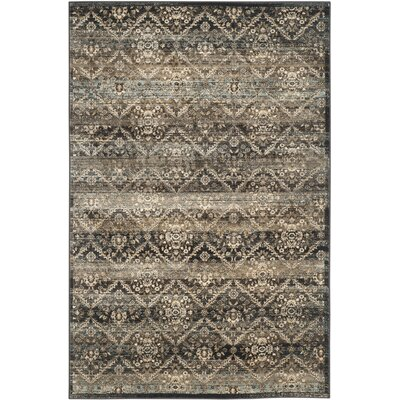 Vintage Black/Light Blue Area Rug Rug Size: 51 x 77