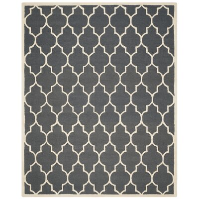 Charlenne Hand-Tufted Dark Gray/Ivory Area Rug Rug Size: Rectangle 6 x 9