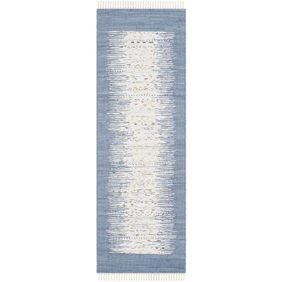 Static Hand-woven Blue/Ivory Area Rug Rug Size: Runner 23 x 8