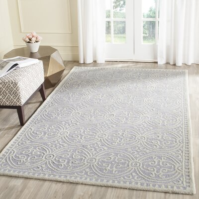 Martins Hand-Tufted Wool Lavender/Ivory Area Rug Rug Size: Rectangle 4 x 6