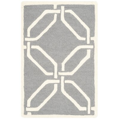 Martins Hand-Tufted Dark Gray/Ivory Area Rug Rug Size: Rectangle 4 x 6