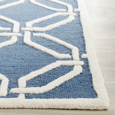 Martins Hand-Tufted Navy/Ivory Area Rug Rug Size: Rectangle 4 x 6