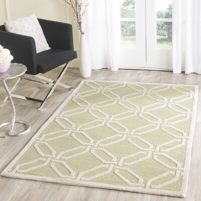 Martins Hand-Tufted Lime/Ivory Area Rug Rug Size: Rectangle 4 x 6
