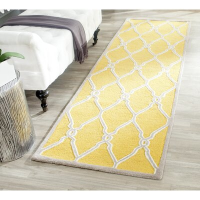 Martins Hand-Tufted Gold/Ivory Area Rug Rug Size: Rectangle 2 x 3