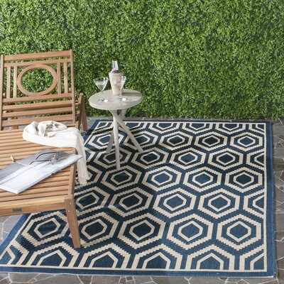 Catharine Navy/Beige Outdoor Rug Rug Size: Rectangle 67 x 96