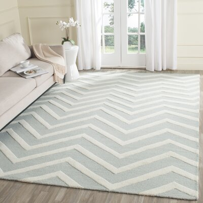 Charlenne Hand-Tufted Gray/Ivory Area Rug Rug Size: Rectangle 6 x 9