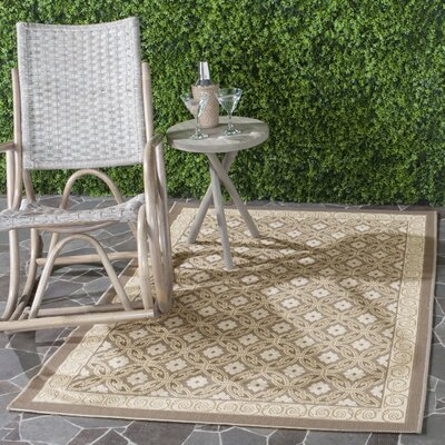 Short Beige/Tan Indoor/Outdoor Rug Rug Size: Rectangle 53 x 77