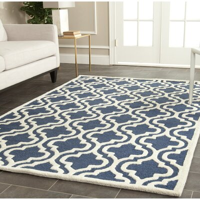 Darla Hand-Tufted Wool Navy/Ivory Area Rug Rug Size: Rectangle 5 x 8