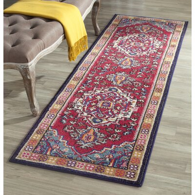 Ward Red Area Rug Rug Size: Runner 22 x 14