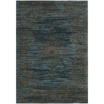 Zennia Turquoise/Gold Area Rug Rug Size: Rectangle 8 x 10