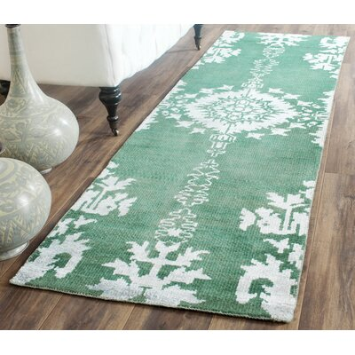 Collette Griggs Hand-Knotted Emerald Area Rug Rug Size: Runner 26 x 12