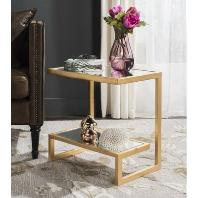 Mira End Table Color: Gold/White
