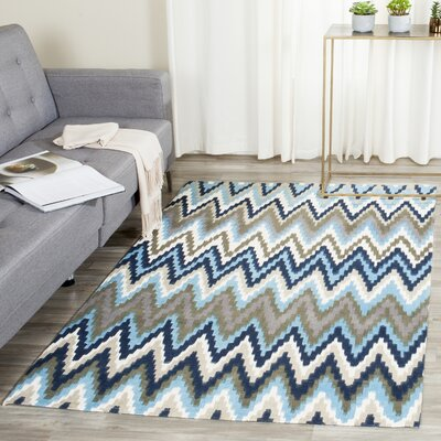 Sonny Hand-Woven Cotton Brwon/Blue Area Rug Rug Size: Round 5