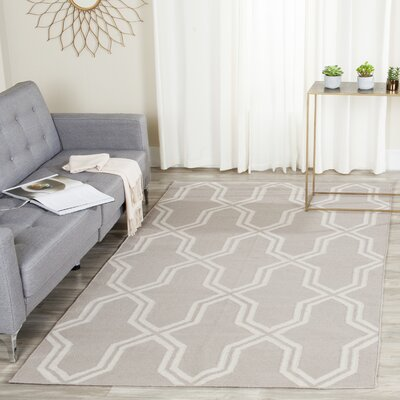 Dhurries Hand-Woven Wool Gray/Ivory Area Rug Rug Size: Square 8