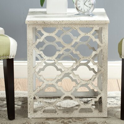 Lonny End Table in Distressed Grey Color: Distressed White