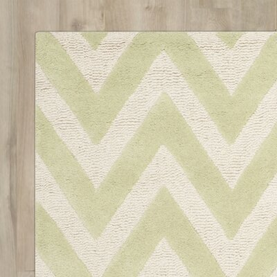 Charlenne Hand-Tufted Light Green / Ivory Area Rug Rug Size: 5 x 8