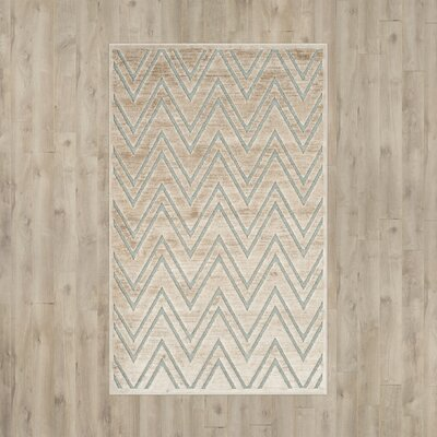 Scharff Taupe/Aqua Area Rug Rug Size: Rectangle 27 x 4