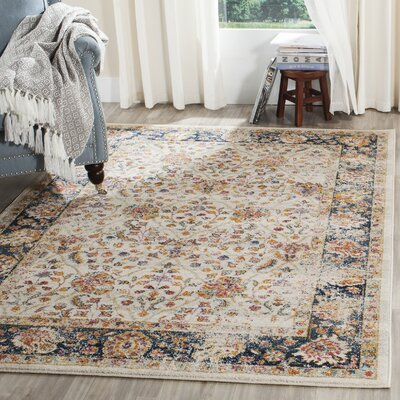 Esparza Cream/Navy Area Rug Rug Size: Runner 23 x 6