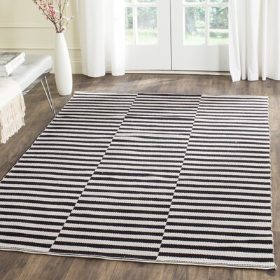 Orwell Hand-Woven Cotton Ivory/Black Area Rug Rug Size: 23 x 39