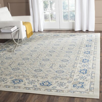 Patina Light Blue/Ivory Area Rug Rug Size: Square 4 x 4