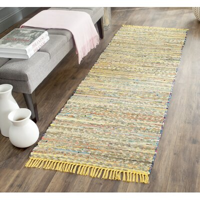 Havelock Contemporary Hand-Woven Cotton Yellow Area Rug Rug Size: Runner 23 x 9
