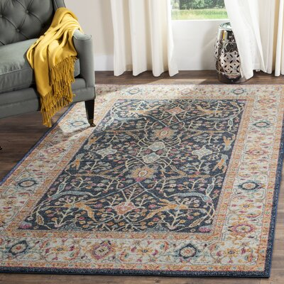 Grieve Navy/Cream Area Rug Rug Size: Rectangle 3 x 5