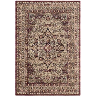 Leija Creme/Red Area Rug Rug Size: 9 x 12