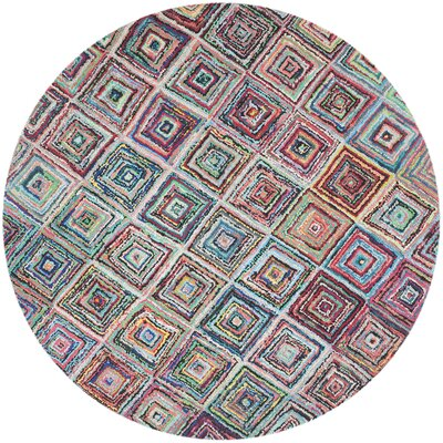 Sergio Hand-Tufted Pink/Green Area Rug Rug Size: Round 8