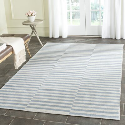 Orwell Hand-Woven Cotton Ivory/Light Blue Area Rug Rug Size: 26 x 4