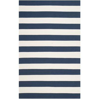 Brookvale Hand-Woven Cotton Navy/Ivory Area Rug Rug Size: Rectangle 3 x 5
