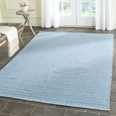 Dormody Hand-Woven Cotton Ivory/Blue Area Rug Rug Size: Rectangle 23 x 39