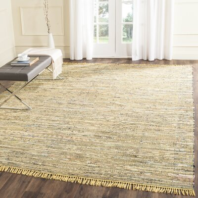 Havelock Contemporary Hand-Woven Cotton Yellow Area Rug Rug Size: Rectangle 26 x 4