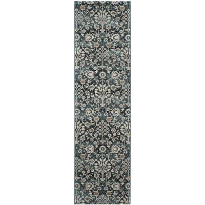 Zennia Turquoise/Cream Area Rug Rug Size: Runner 23 x 8