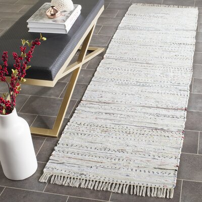 Penrock Way Handwoven Cotton White Area Rug Rug Size: Runner 23 x 14