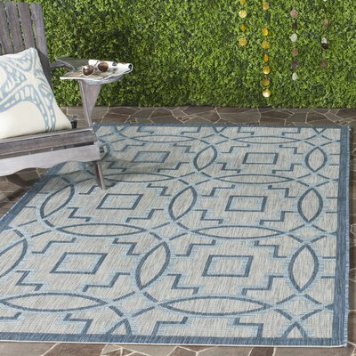 Amedee Aqua Blue/Gray Indoor/Outdoor Area Rug Rug Size: Rectangle 2 x 37