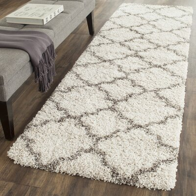 Samira Shag Ivory/Gray Area Rug Rug Size: Rectangle 23 x 39