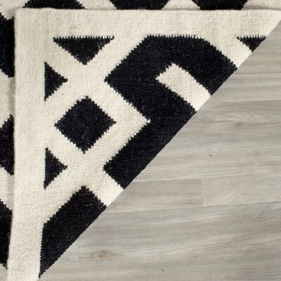 Dhurries Black/Beige Area Rug Rug Size: 4 x 6
