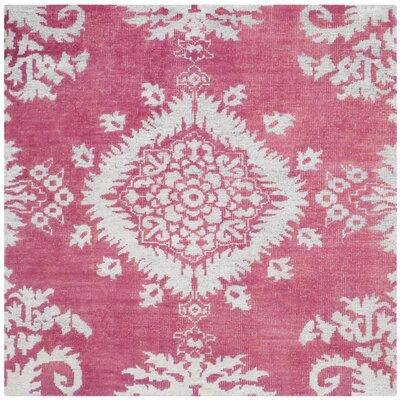 Moulouya Hand-Knotted Pink Area Rug Rug Size: Square 6 x 6
