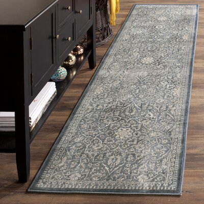 Columbus Blue/Light Gray Area Rug Rug Size: Runner 22 x 8