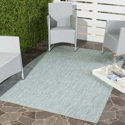 Adelia Aqua/Gray Area Rug Rug Size: Rectangle 4 x 57