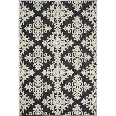 Bryan Black/Cream Indoor/Outdoor Area Rug Rug Size: Rectangle 67 x 96